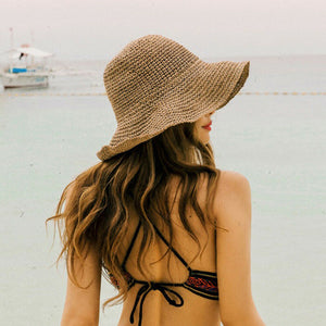Boho Style  Bow Sun Hat Wide Brim Floppy Summer Hats For Women Beach Panama Straw Dome Bucket Hat Femme Shade Hat