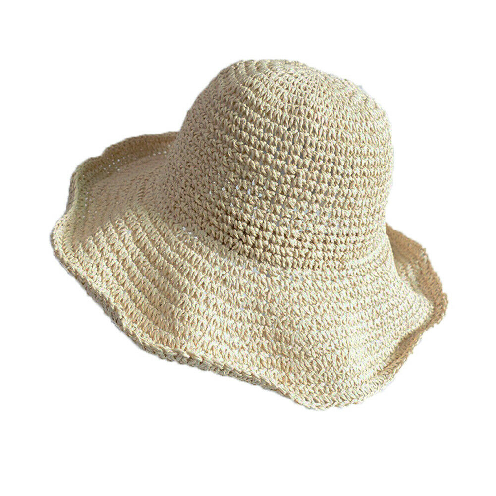 Shin Megami Tensei Boho Style  Bow Sun Hat Wide Brim Floppy Summer Hats For Women Beach Panama Straw Dome Bucket Hat Femme Shade Hat