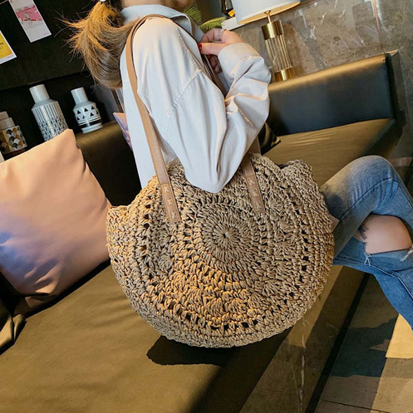 Casual Rattan Women Shoulder Bags Circle Straw Handbags Big Capacity Handmae Summer Totes Lady Round Bohemian Beach Treval Sac