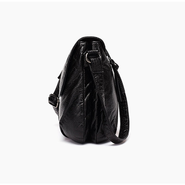 CmetNi Black Small Women Messenger Bag Soft Washed PU Leather Crossbody Bag Female Handbag Purses Chain