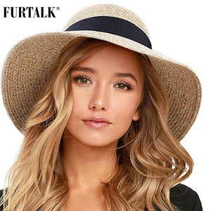 Summer Hat for Women Beach Sun Hat Straw Hat panama fedora Cap Wide Brim UV Protection Summer Cap for Female