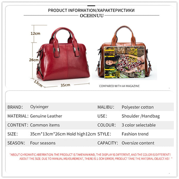 Genuine Leather Women Totes Luxury Handbags Ladies Shoulder Bags Designer Real Cowhide Handbag Yolanda Adams Handbags