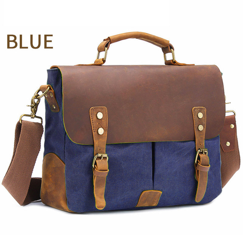 Leather Canvas Messenger Bags Laptop Briefcase Crossbody Satchel Bag