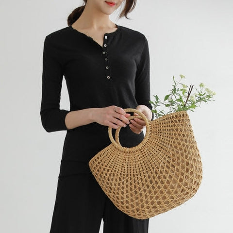 New Straw Bag Women Hand-Woven Hollow Handbag Moon Shape Rattan Bag Big Capacity Drawstring Handbag Casual Travel Beach Bag