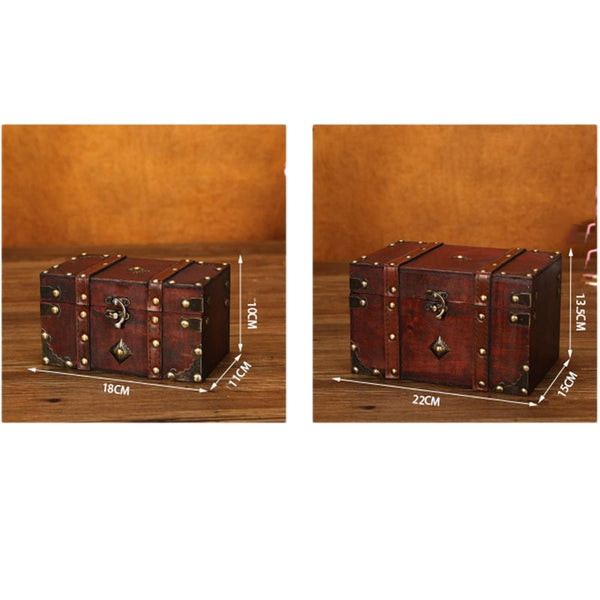Retro Treasure Chest Vintage Wooden Storage Box Antique Style Jewelry Organizer for Jewelry Box Trinket Box home Mask box