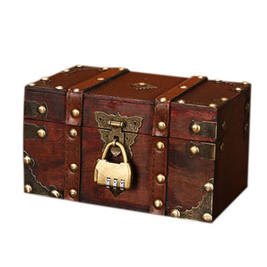 Retro Treasure Chest with Lock Vintage Wooden Storage Box Antique Style Jewelry Organizer for Wardrobe Jewelry Box Trinket Box