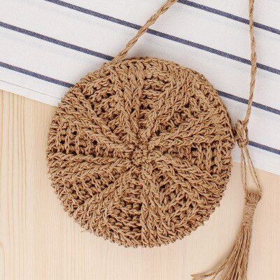 Round Straw Beach Bag Vintage Handmade Woven Shoulder Bag Yolanda Adams Handbags