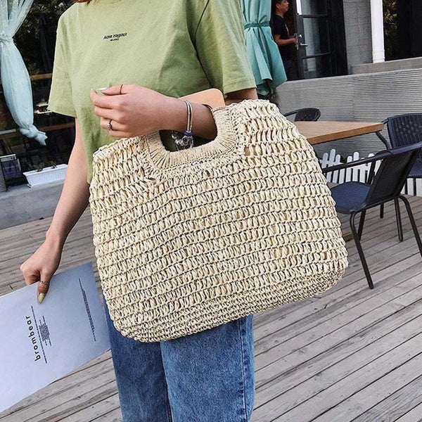 Vintage Bohemian Straw Bag for Women Summer Large Capacity Beach Handbags Rattan Handmade Kintted Travel Bags