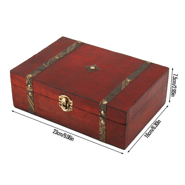 Vintage Wooden Treasure Chest Storage Box Lock Organizer Case Foldable Mini  Wood Box Home Decor Container Trinket Jewelry Bin