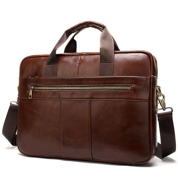 Men's briefcase bag men's genuine leather laptop bag business tote for document office portable laptop shoulder bag  8523