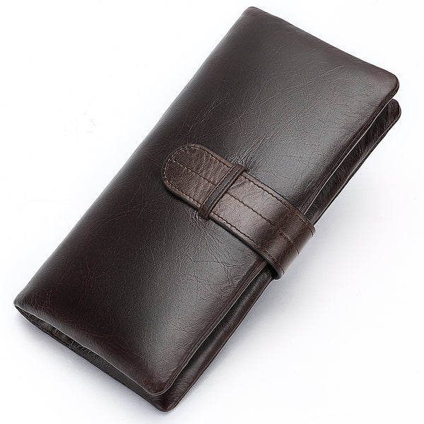 Wallet men's genuine leather purse for men clutch male wallets long Leather zipper wallet men business money bag 6018