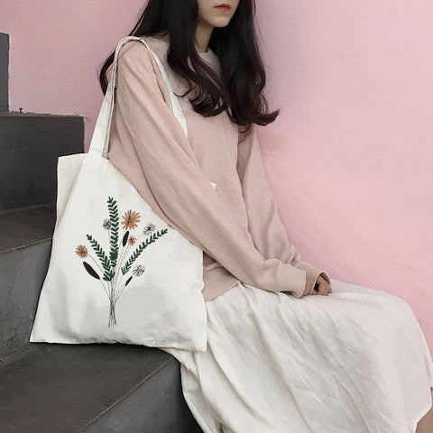 Women Canvas Shopping Bag Female Canvas Cloth Shoulder Bag Eco Handbag Tote Reusable Grocery Shopper Bags Students Book Bag