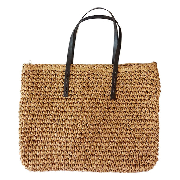 Women Handbag Summer Beach Bag Rattan Woven Handmade Knitted Straw Large Capacity Totes Leather Women Shoulder Bag Bohemia New