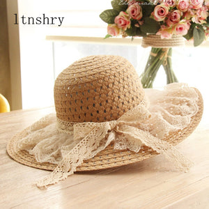 Women Lace Sun Hats For  Wide Brim Straw Beach Side Cap Floppy Female Straw Hat