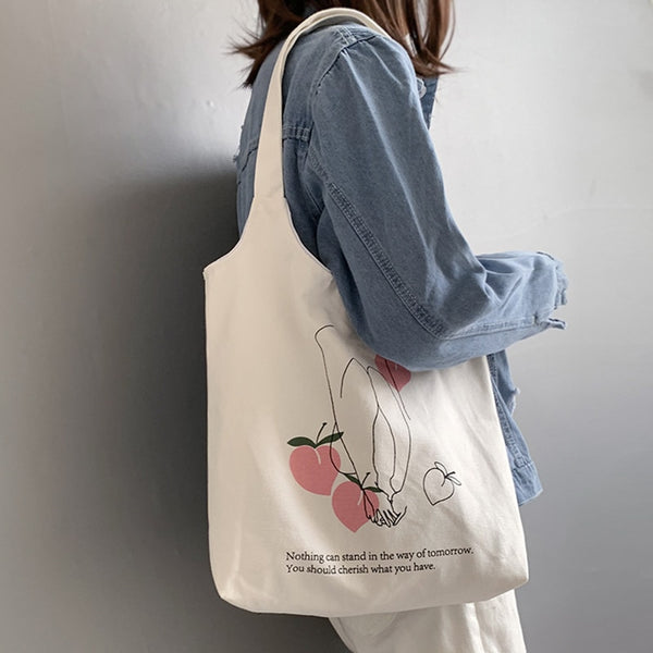 Women's Canvas Shoulder Tote Bag Large Cotton Cloth Shopping Bags for Lady Female Handbag