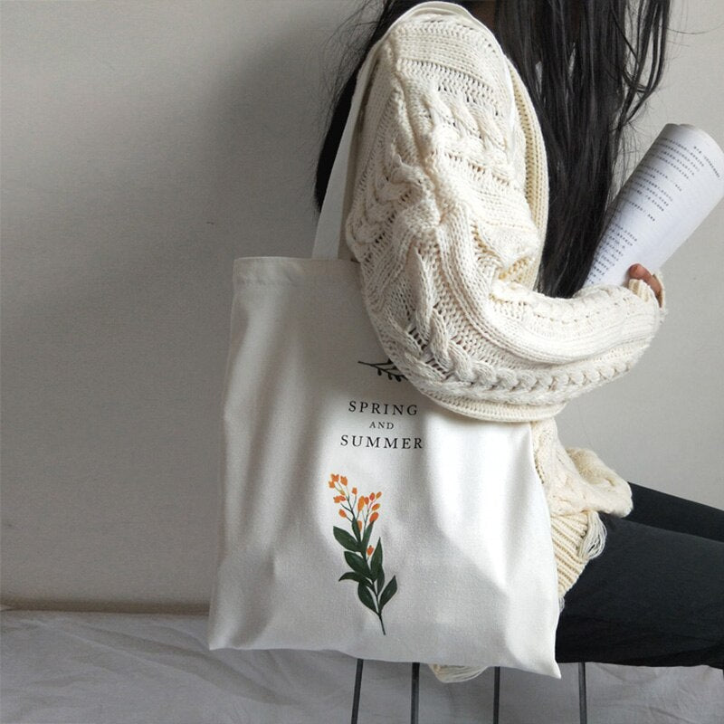 Women's Casual Canvas Shoulder Bag Flowers Printing Shopping Bag Cotton Cloth Lady Handbag Eco Reusable Large Tote Shopper Bags