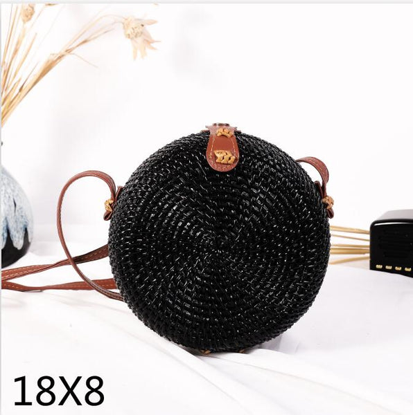 Woven Rattan Bag Round Straw Shoulder Bag Small Beach HandBags Crossbody Bags