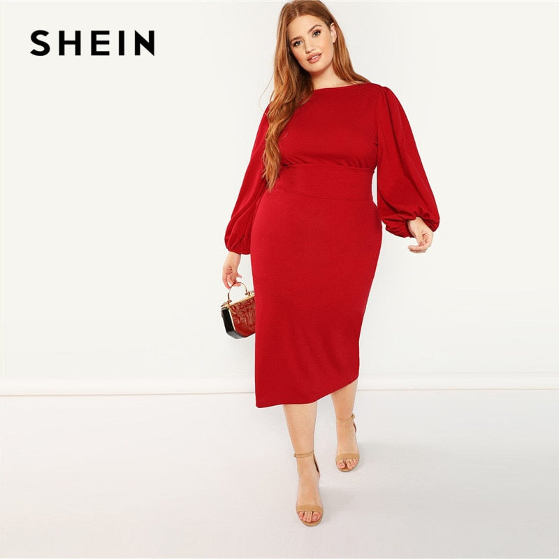 f6a63cdf20 SHEIN Red Plus Size Lantern Long Sleeve High Waist Elegant Pencil Dresses  Slim Fit Belted Party