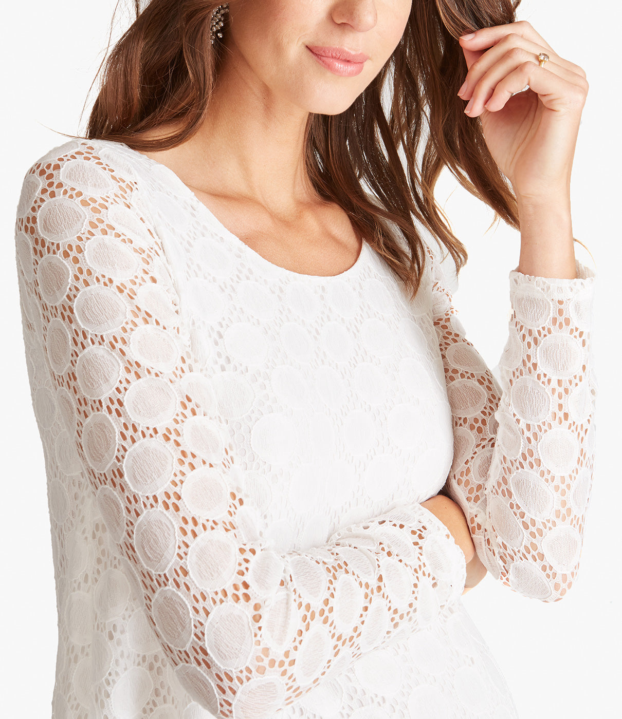 In the DetailsLong sleeves are unlined so you can see the lace and skin detail.