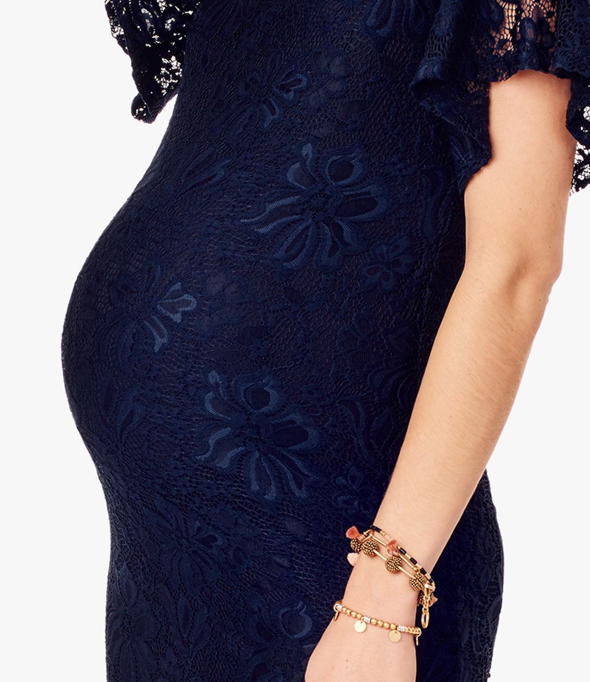 What It's Made OfStretch floral lace with an ultra-soft lining grows with your belly.