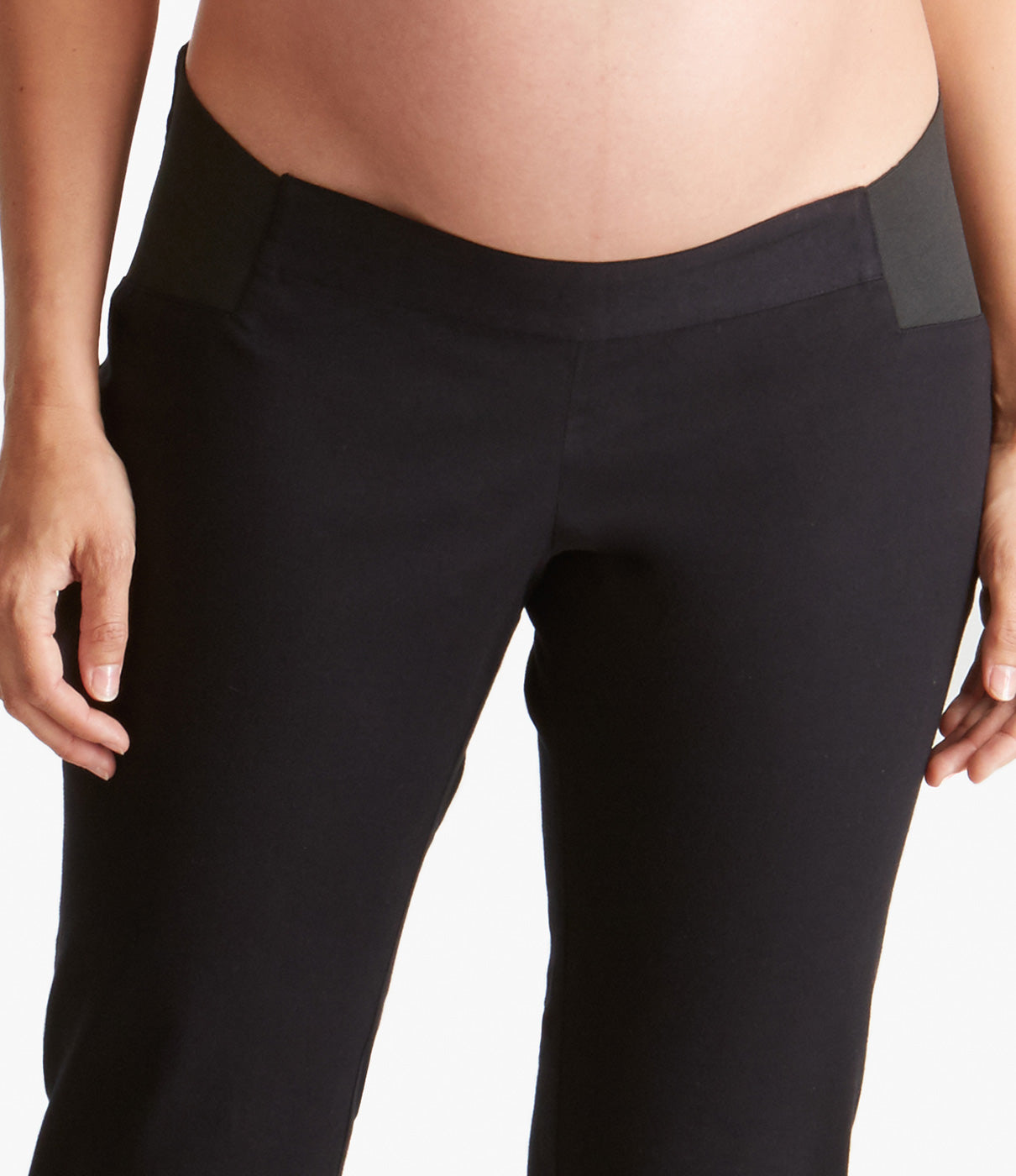 CRAZY COMFORTABLESoft, stretchy cotton blend maternity pants that sits comfortably under the belly.