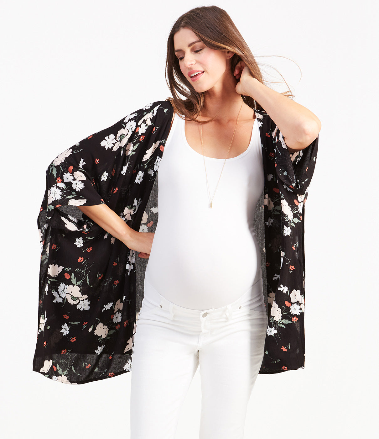 Fashion + FunctionComfy kimono silhouette and an all-over floral print make this 3rd piece a stand out in your maternity closet.