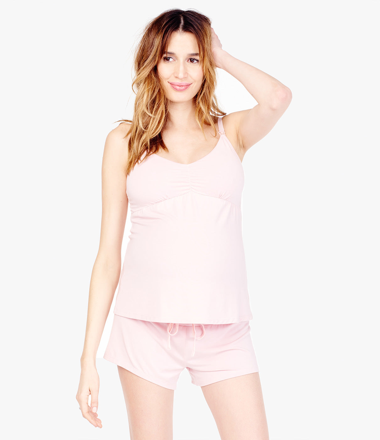 GROWS WITH YOUBoth the sleep short and camisole work during pregnancy and postpartum.