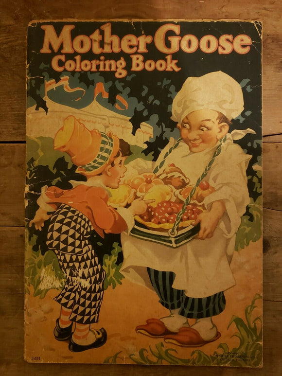 Rare,  Antique,  Mother Goose Coloring Book  by Merrill Publishing Company Chicago, Illinois 1936