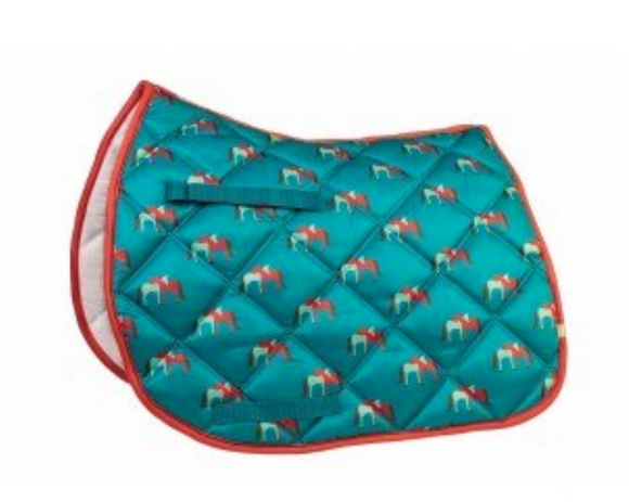 ap saddle pad, printed saddle pad, fun saddle pad, pad with horses, lettia saddle pad