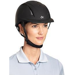 equestrian in black sleek riding helmet, comfortable helmet, afforable helmet
