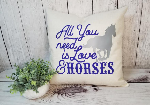 Horse lovers pillow, equestrian decor, horse decor, equestrian accessories, all you need is horses design, custom pillow covers, pillow cover, throw pillow, huntsville horse sports