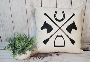 horse pillow, horse design pillow, equestrian decor, horse decorating, equestrian theme room, horse pillow with spurs, horse pillow with horse heads, cute black and white horse pillow