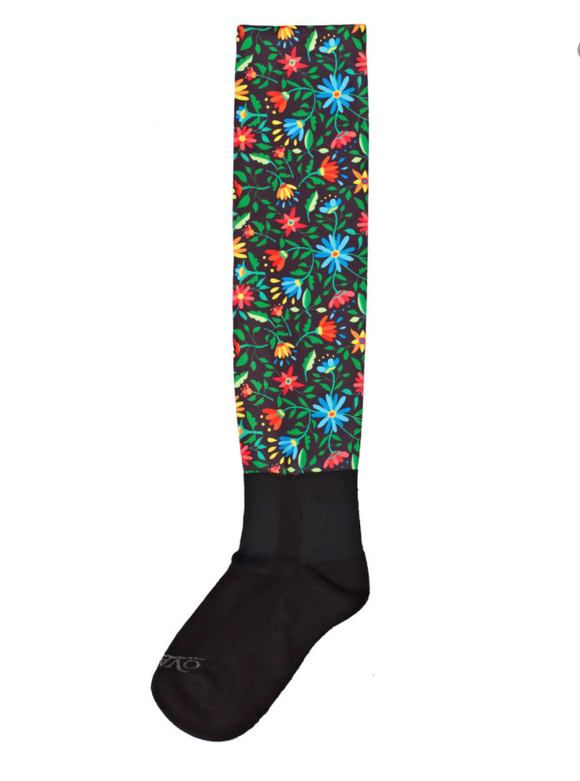 Flower Spiral Teal Boot Socks