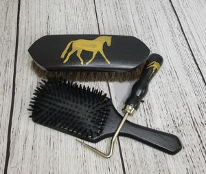 Hand Painted Grooming Gift Set Black/Gold