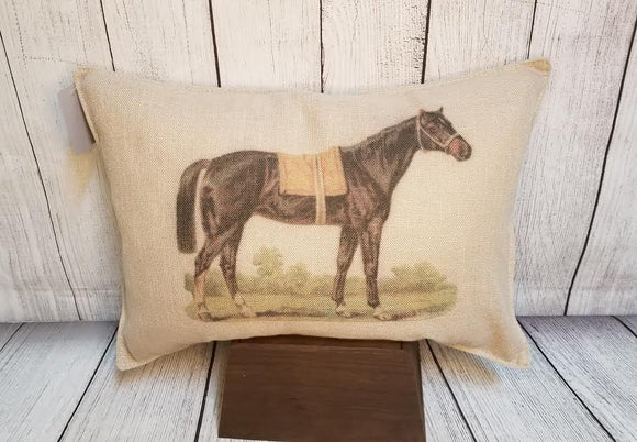 Black Racehorse Throw Pillow