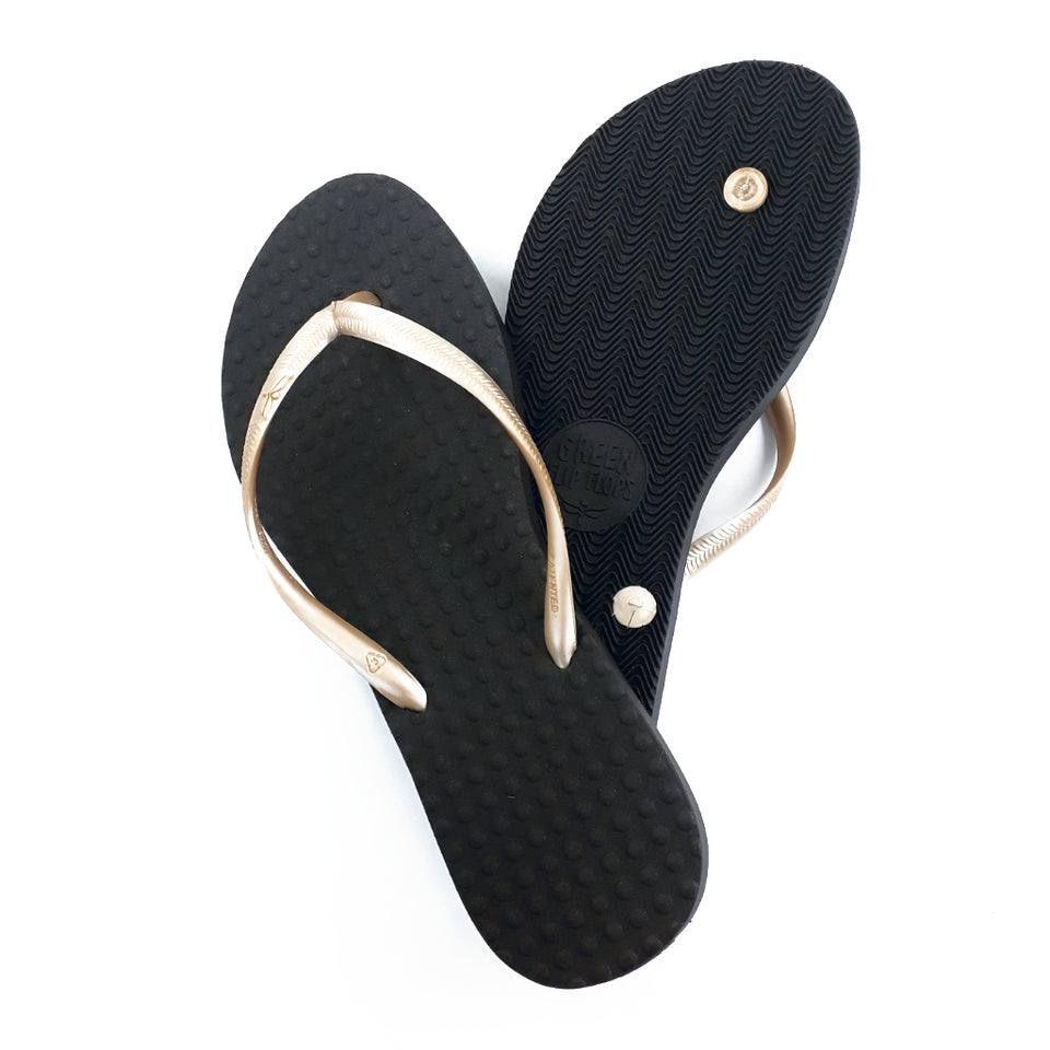 Women's Sustainable Flip Flops Recycled Black with Pearl Straps
