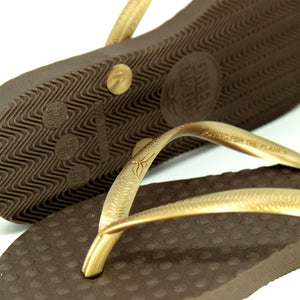 Women's Sustainable Flip Flops Brown with Golden Straps
