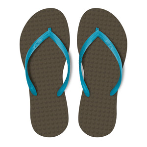 Women's Sustainable Flip Flops Brown with Turquoise Straps
