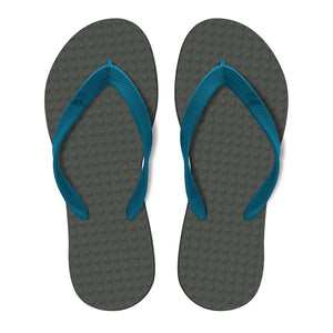 Men's Sustainable Flip Flops Grey with Navy Straps