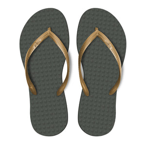 Women's Sustainable Flip Flops Grey with Golden Straps
