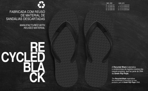 Men's Sustainable Flip Flops Recycled Black with Recycled Black Straps