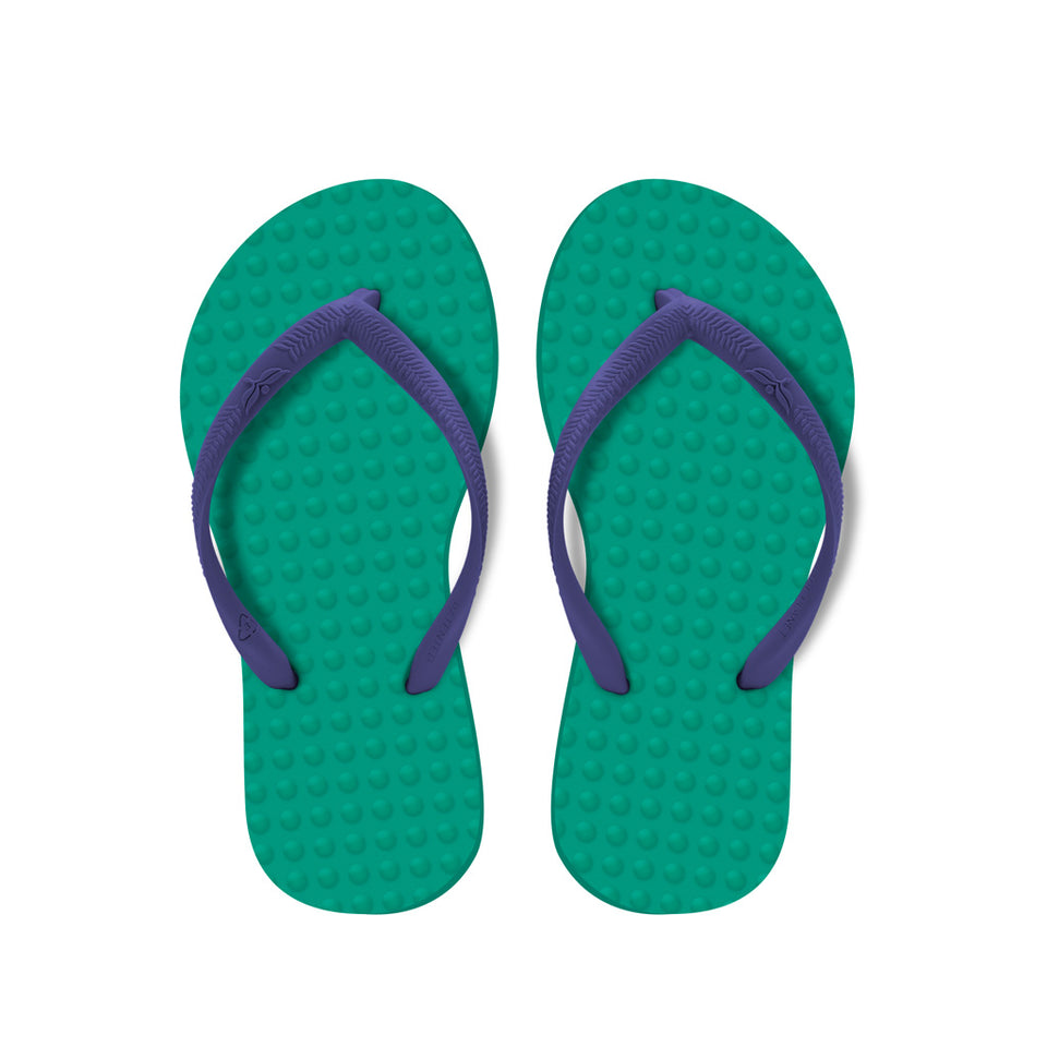 Kid's Sustainable Flip Flops Emerald with Purple Straps