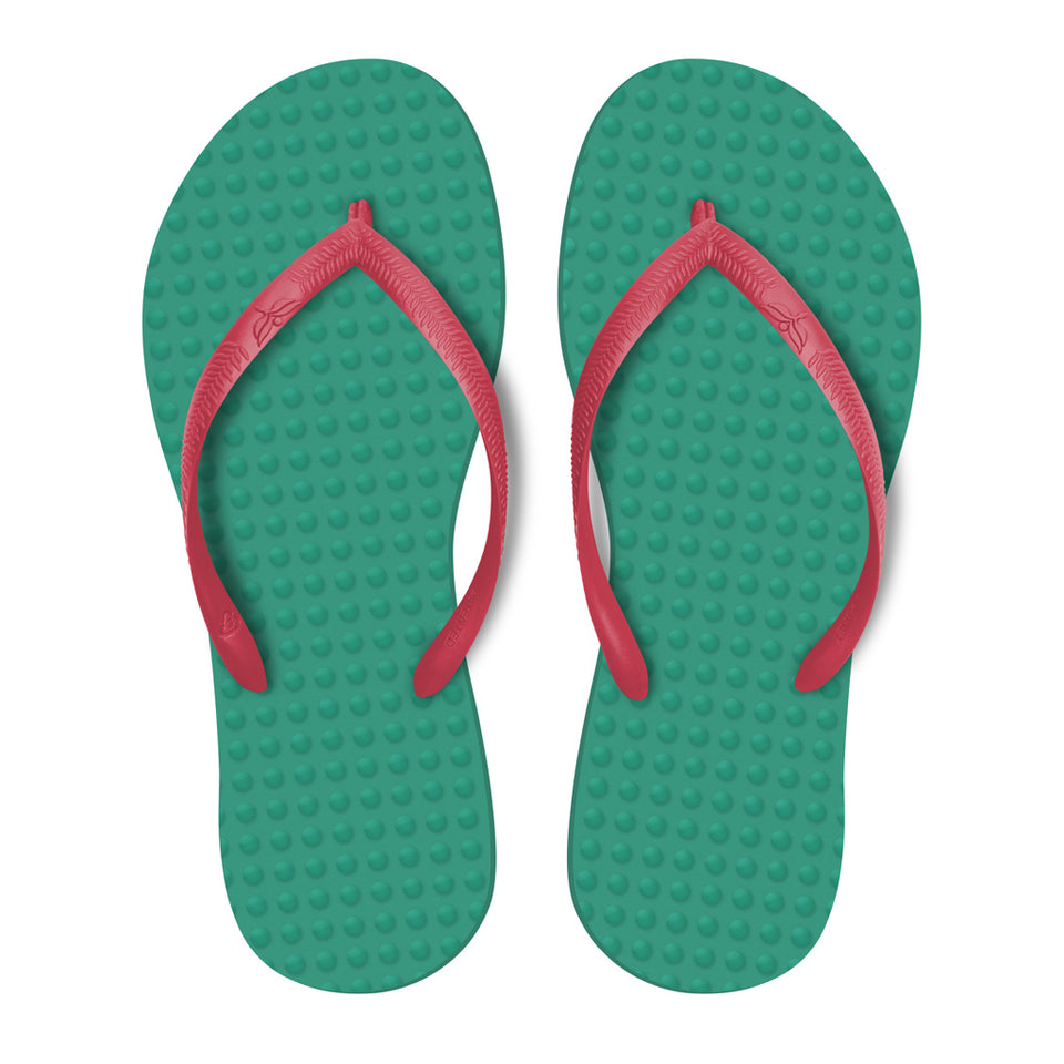 Women's Sustainable Flip Flops Emerald with Watermelon Straps