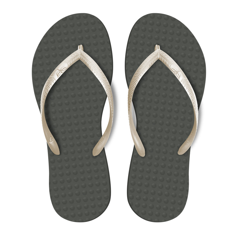 Women's Sustainable Flip Flops Grey with Pearl Straps