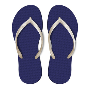 Women's Sustainable Flip Flops Purple with Pearl Straps