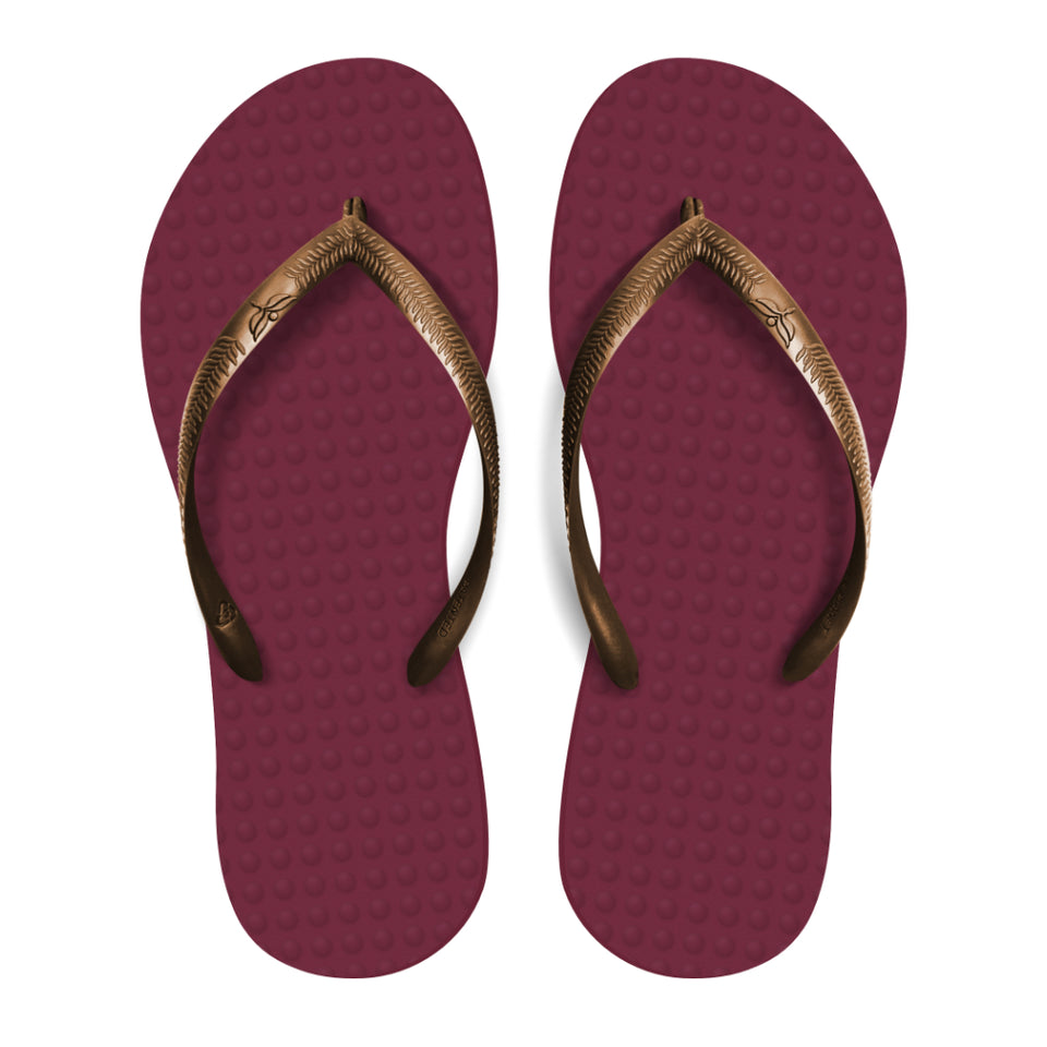 Women's Sustainable Flip Flops Açai with Copper Straps