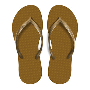 Women's Sustainable Flip Flops Capucino Sole with Golden Straps