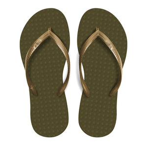 Women's Sustainable Flip Flops Oliva sole with Golden straps