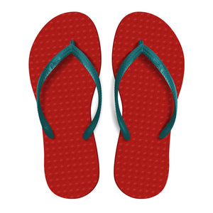 Women's Sustainable Flip Flops Red Coral sole with Maldives Turquoise straps