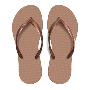 Women's Sustainable Flip Flops Rosé sole with Copper straps